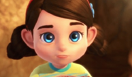 Анимация Голубоглазая девочка с подарком, мультик о маленькой девочке, которой подарили чудо