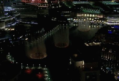 Анимация Светящиеся танцующие фонтаны в Дубае