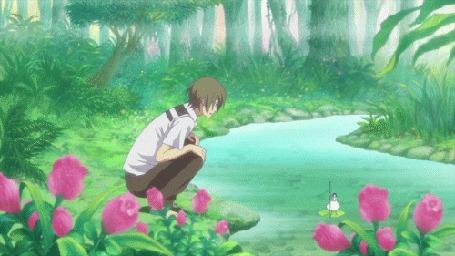 Анимация Парень сидит у реки перед корабликом, аниме Воспоминания Марни