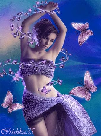 Анимация Танцующая девушка на фоне бабочек, обвитая гирляндой из переливающихся бабочек