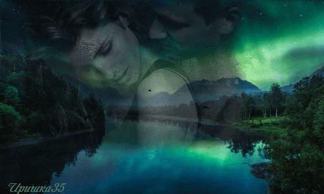 Анимация Девушка прислонилась спиной к мужчине на фоне реки, гор и летающих птиц, силуэт влюбленных