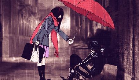 Анимация Девушка Ики Хиери держит красный зонт, укрывая бездомного от дождя