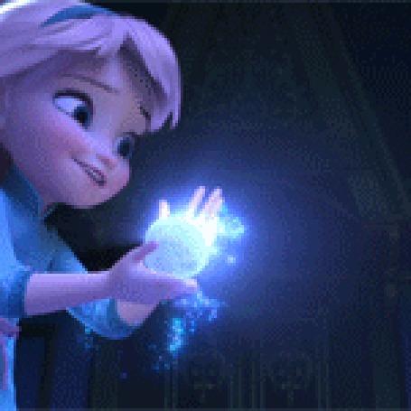 Анимация Маленькая эльза с волшебным сиянием мультфильм Холодное Сердце