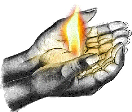 Анимация В раскрытых ладонях горит огонь