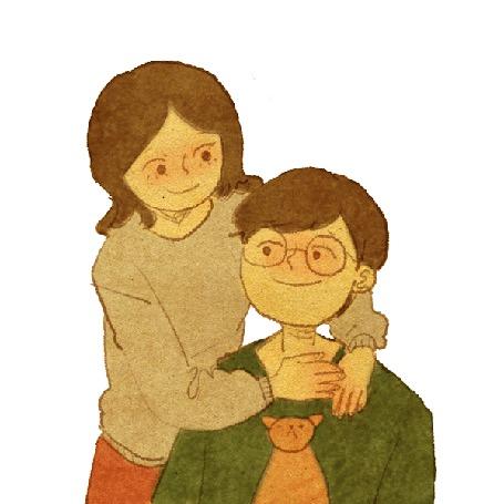 Анимация Девушка целует парня, на руках у которого сидит кошка