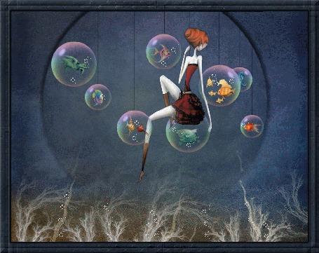 Анимация Девушка с рыжими волосами в коричневой одежде сидит на капле воды, в которой виднеется рыбка, рядом множество капель воды с морскими животными и рыбами