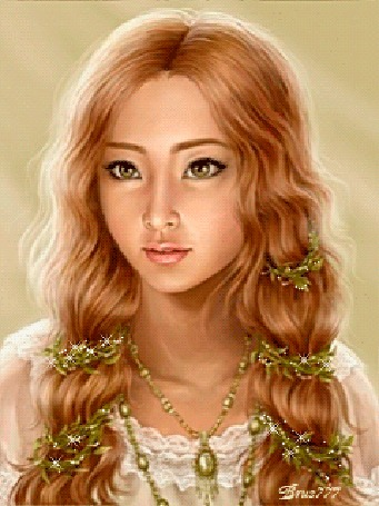 Анимация Шатенка с длинными волосами, карими глазами