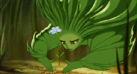 Анимация Зеленая девушка, персонаж мультфильма Фантазия 2000 / Fantasia 2000, при помощи магии превращает один цветок в другой