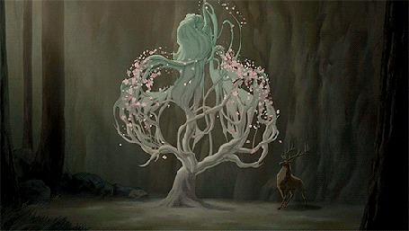 Анимация Персонаж мультфильма Фантазия 2000 / Fantasia 2000 девушка - дерево, встряхивает своими руками - ветками розовый цвет, рядом стоит удивленный олень