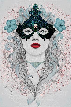 Анимация Девушка в маске с изображением черепа на фоне цветов