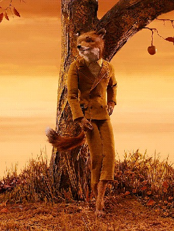 Анимация Стильный лис в костюме стоит у дерева