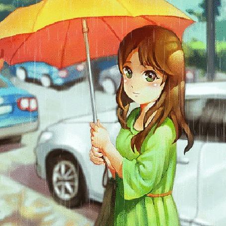 Анимация Девушка с желтым зонтом стоит на улице под дождем