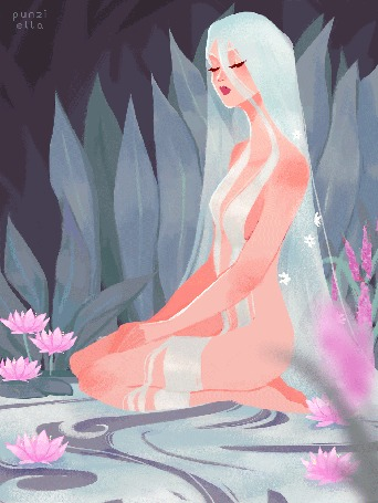 Анимация Девушка с длинными светлыми волосами сидит среди кувшинок