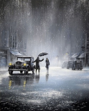 Анимация Мужчина, раскрыв большой зонт, стоит возле автомобиля с зажженными фарами, встречая девушку, которая спешит на встречу с ним под проливным дождем, by Jeff Rowland / Джефф Роуланд
