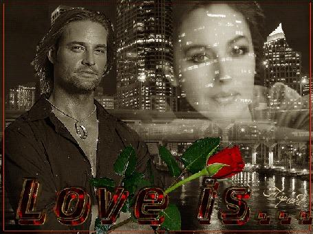 Анимация Мужчина стоит, сзади на фоне ночного города девушка, (Love is. . . / Любовь это. . )