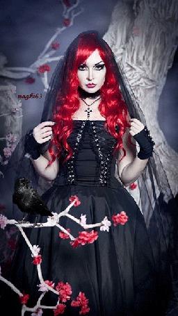 Анимация Девушка с красными длинными волосами, в черном шарфе, в черном платье на фоне сидящего на цветущей ветки черного ворона, dy naghi63