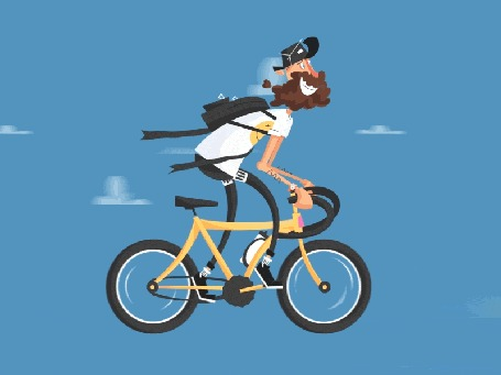 Анимация Бородатый турист весело едет на велосипеде среди облаков, by Nikoloz Kaxniashvili