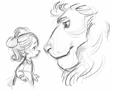 Анимация Рисунок девочки и льва