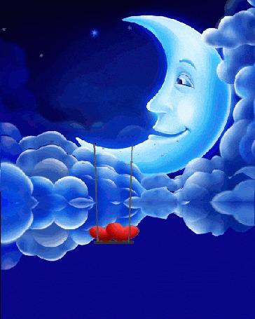Анимация Два красных сердечка качаются на качели, привязанной к рогу луны на фоне облаков