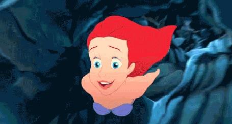 Анимация Ariel / Ариэль плывет в океанских глубинах, мультфильм The Little Mermaid / Русалочка