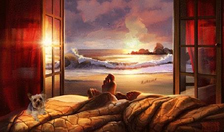 Анимация Рядом с ножками влюбленных, которые лежат на фоне открытого окна с видом на море, сидит щенок (Наташа)
