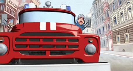 Анимация Черный кот переходит дорогу перед пожарной машиной, мультфильм Жил-был черный кот, 2006