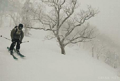 Анимация Парень, спускаясь на лыжах с горки, красиво переворачивается в воздухе, но потом врезается в дерево