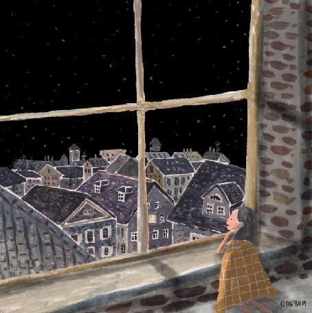 Анимация Девочка смотрит в окно на плывущих медуз