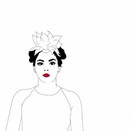 Анимация Темноволосая девушка с цветком на голове раскрывает зонтик