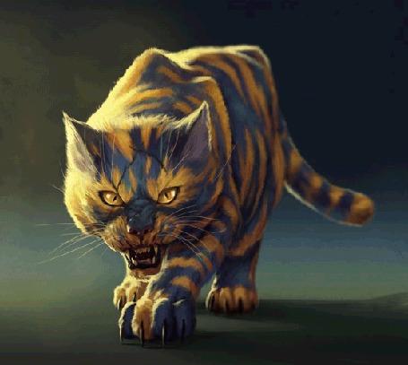 Анимация Дикий кот в раскраске тигра подкрадывается к добыче