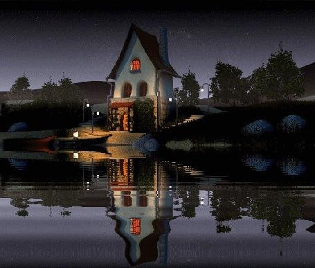 Анимация Красивый пейзаж - домик у реки