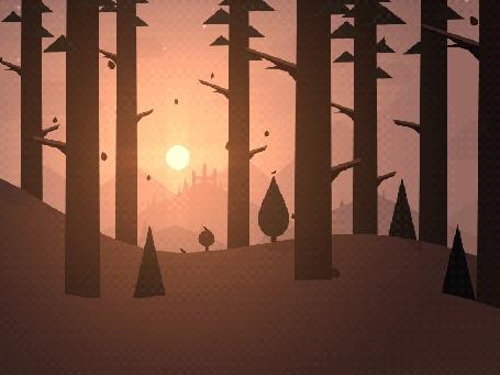 Анимация Осенний лес с падающими листьями и бегающими оленями на закате