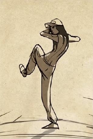 Анимация Девушка кидает бейсбольный мяч