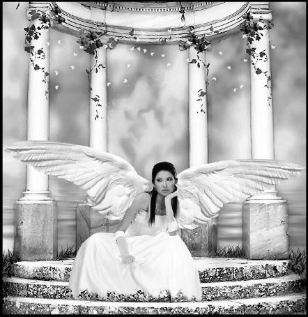 Анимация Девушка-ангел с темными длинными волосами в белом платье сидит на ступеньках терасы на фоне листьев и бабочек