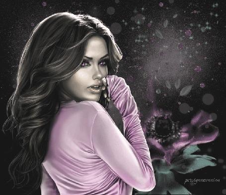 Анимация Девушка с темными длинными волосами в розовой блузке на фоне сиреневого цветка