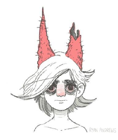 Анимация Парень с мешками под глазами, развивающимися волосами, и красными рогами на голове, один из которых обломан, иллюстратор Ryan Andrews