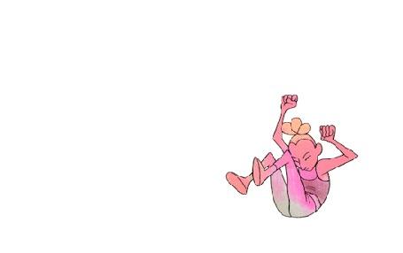 Анимация Девушка танцует необычные танцы, выписывая геометричные пируэты