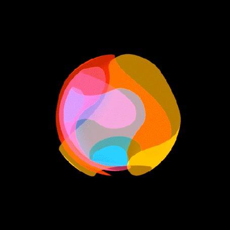 Анимация Сфера, состоящая из голубой, красной и желтой вращающихся клякс