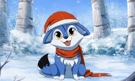 Анимация Голубой котенок в шапочке и шарфе под падающим снегом, by DragginCat
