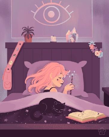 Анимация Девушка с волшебной палочкой и черная кошка спят, уютно устроившись на кровати, над которой прыгает овечка