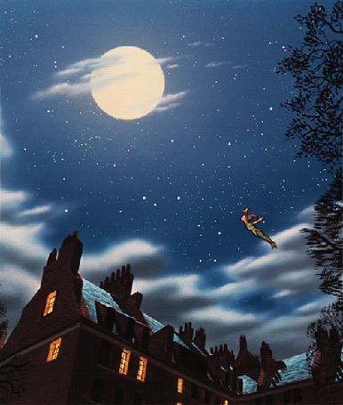Анимация Ангелы над домом летят в сторону полной луны
