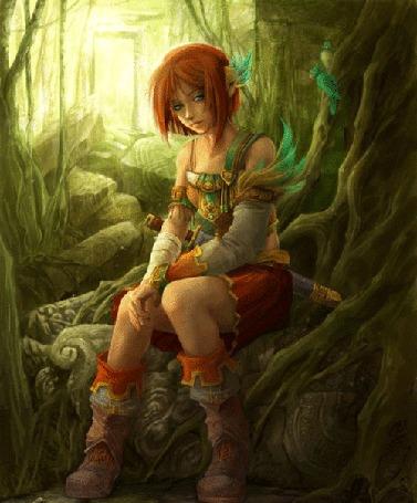 Анимация Девушка сидит около дерева