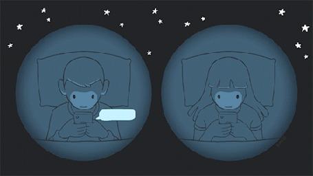 Анимация Парень и девушка пересылают друг другу сообщения