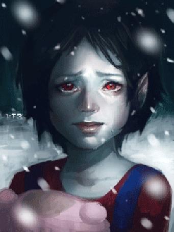 Анимация Маленькая Марселин / Marceline из мультсериала Время Приключений / Adventure Time плачет, стоя под падающим снегом, by sscindyss
