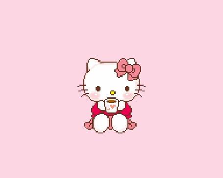 Анимация Hello Kitty / Хелло Китти с чашкой чая