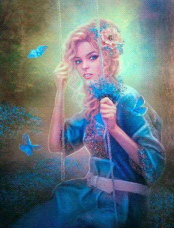 Анимация Девушка в голубом платье в окружении бабочек на качели