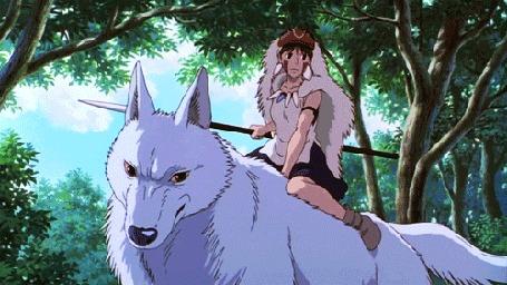 Анимация Девушка верхом на волке, кадр из мультфильма Princess Mononoke / Принцесса Мононоке