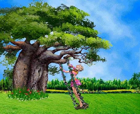 Анимация Девушка в розовом платье качается на качели под деревом