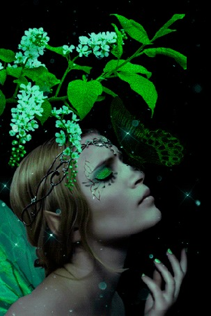 Анимация Девушка-шатенка с зеленой бабочкой на лице на фоне цветущих веток черемухи