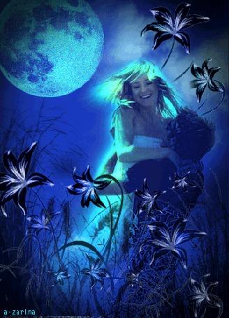 Анимация Лунной ночью мужчина держит на руках любимую девушку на фоне луговых цветов, by a-zarina